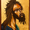 Martine Gaussen peints ses icônes traditionnelles à la tempera (prophètes, anges, Christs, Vierges, et Apôtres)
