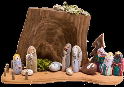 Crèche de Noël nature en santons galets modernes